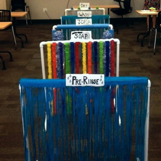 """My Sensory Car Wash- I took a twist on an expensive online one. I used PVC pipes for the structure. There are five """"stations""""  1. PRE-RINSE: I used a green hula skirt at the dollar tree and blue paint (spray paint doesn't work).  2. SOAP: twelve plastic Hawaiian leis.  3. SCRUB: foam noodles and four dusters.  4. WASH: same are pre-rinse, painted hula skirt.  5. DRY: four foam hand fans and thick strips of clear shower curtain."""