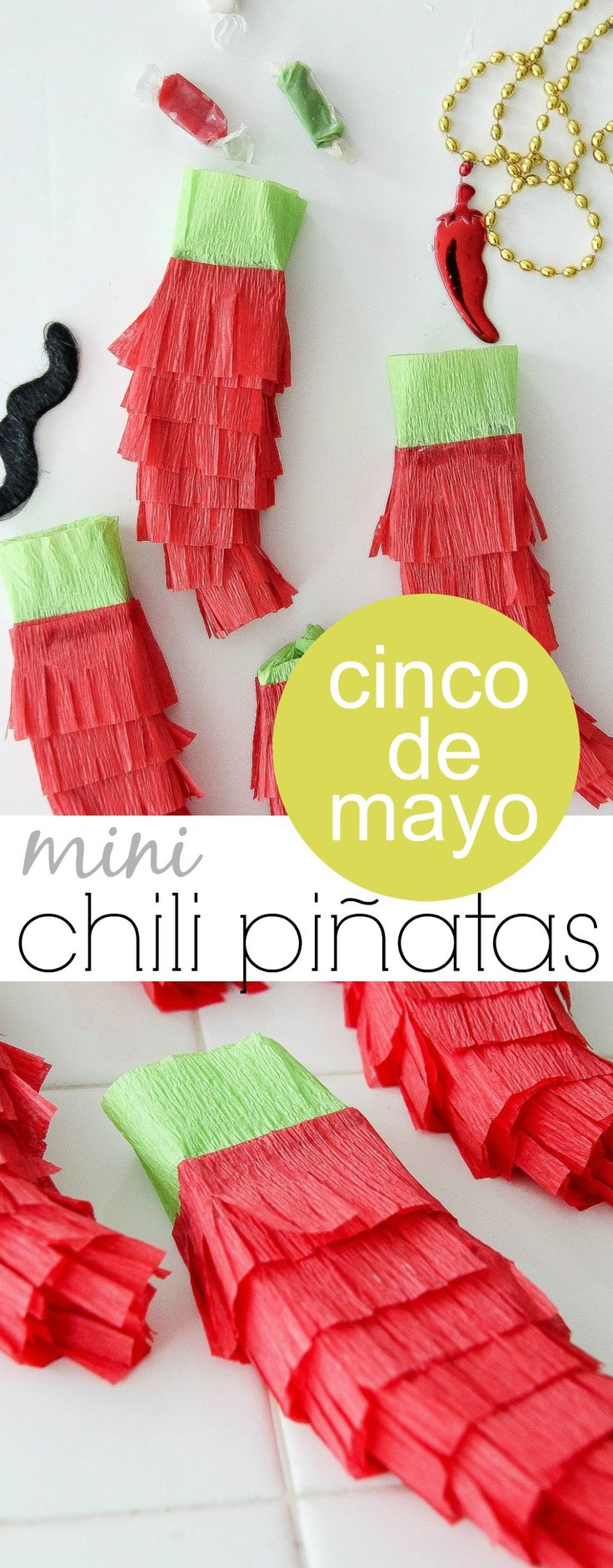 Cinco De Mayo Craft: Mini Chili Piñatas #cincodemayo