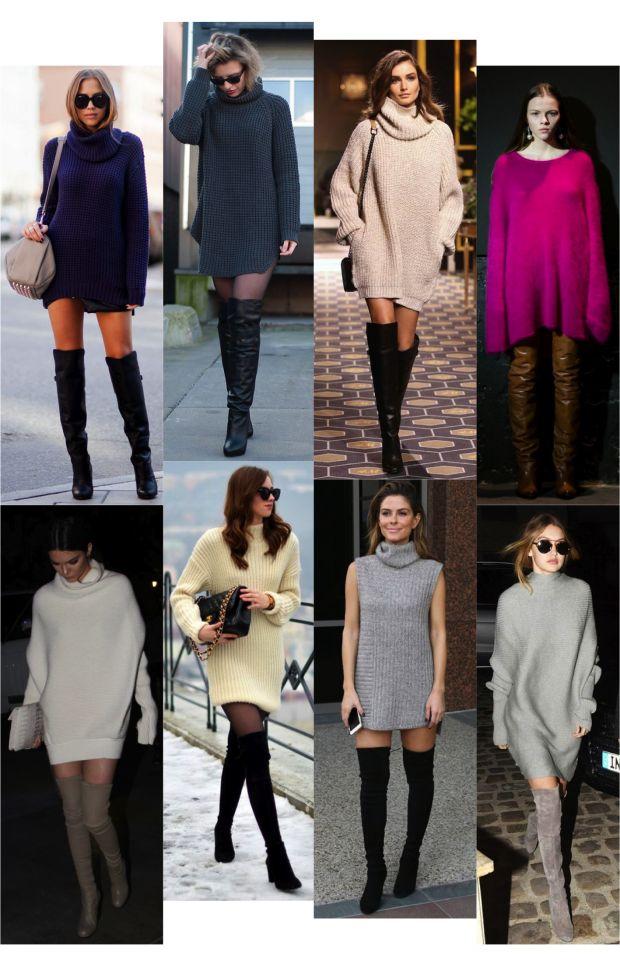 Inspiração pra se vestir quentinha e na moda no outono inverno: invista no look abajur, que nada mais é que casacão ou vestidinho usado com bota over the knee poderosa.