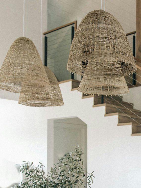 Rattan Pendant Coastal Lighting Rattan Lighting Straw Etsy Coastal Pendant Lighting Rattan Pendant Light Bamboo Lamp