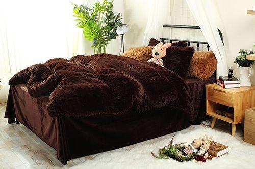 $90- 4pc  Mink Velvet Bedding Sets 13 colors lambs wool Fleece Bed Sheet Duvet Cover set bedclothes Queen size 4 pcs Bed Linen