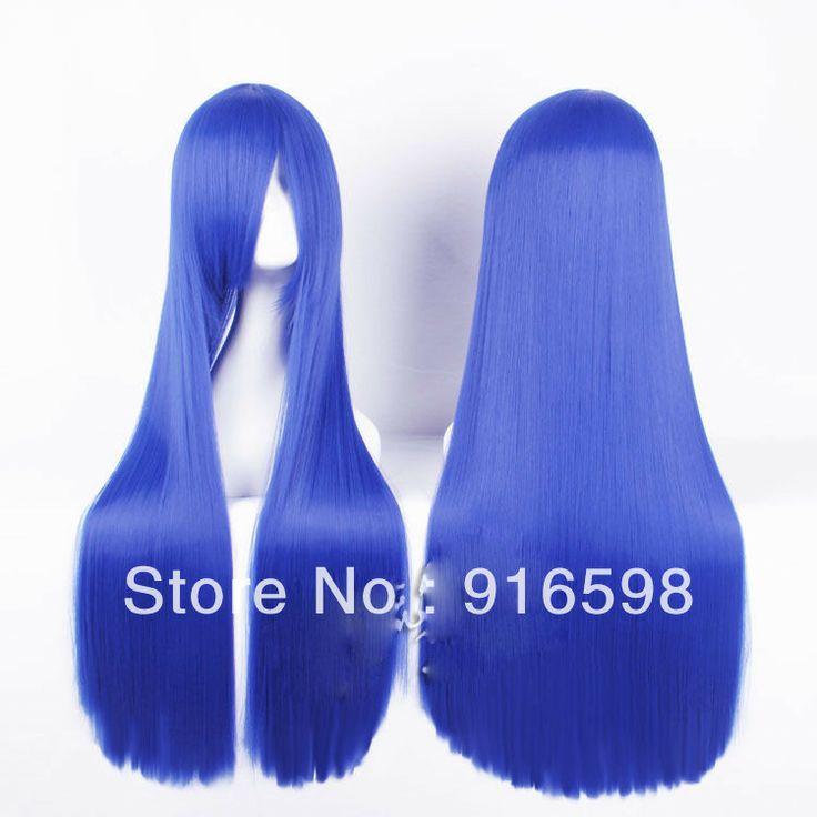 New fashion long straight wig Cosplay blue wig 100cm 089