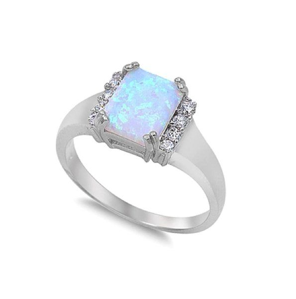 CloseoutWarehouse Rectangular Center Cubic Zirconia Simulated Opal Ring 925 Sterling Silver