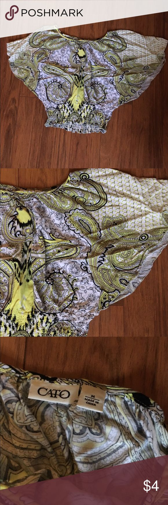 Cato top Cute black, yellow paisley batwing top. Cato Tops Blouses