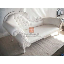 french provincial furniture distressed white louis xv chaise lounge
