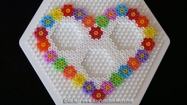 Cadre photo coeur sp cial f te des m res heart and flowers for mother 39 s day perles - Coeur perle a repasser ...