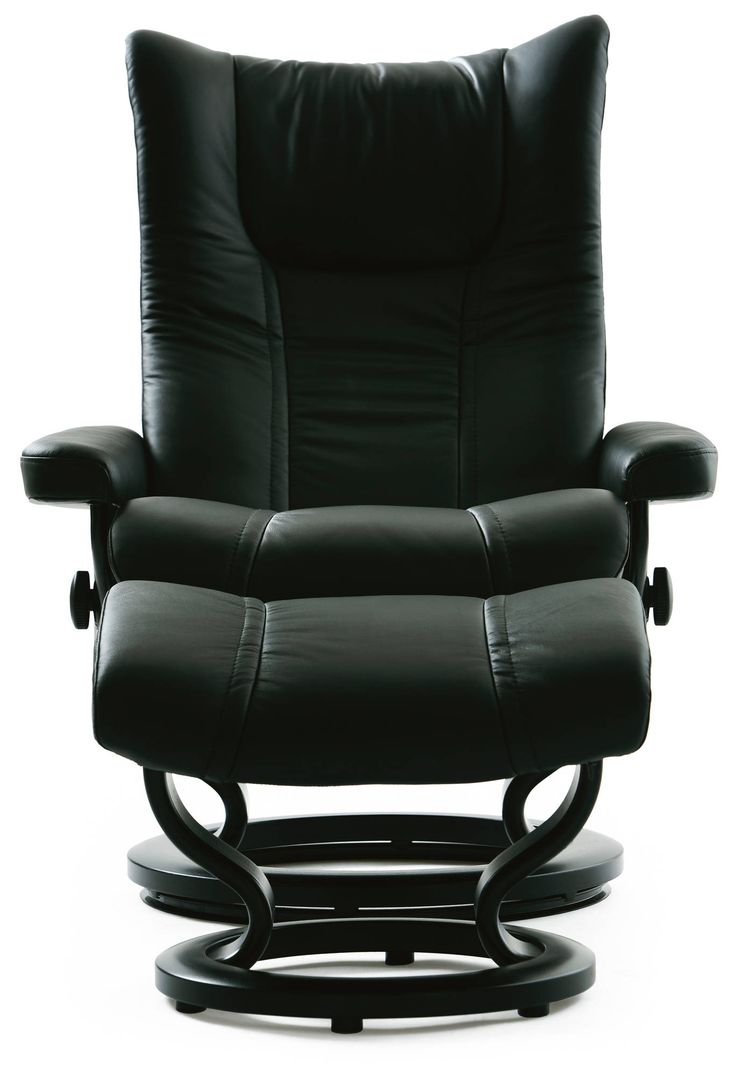 Stressless consul small chair and stool in batick leather - Stressless Wing Recliner In Paloma Leather Color Black With Classic Base Wood