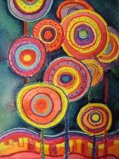 Hundertwasser, 2nd-grade, oil pastel and watercolor resist, Hundertwasser's other-worldly gardens and repetition of line