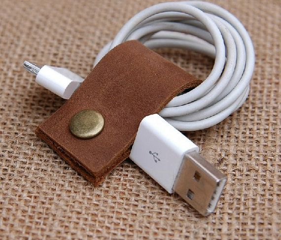 Leather Cable Band-Handmade Leather USB/Earphone Cable Management. $8.00, via Etsy.