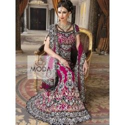 Punjabi bridal lehenga in magenta color with heavy embellishment. Available in other colors and size. Customization available.