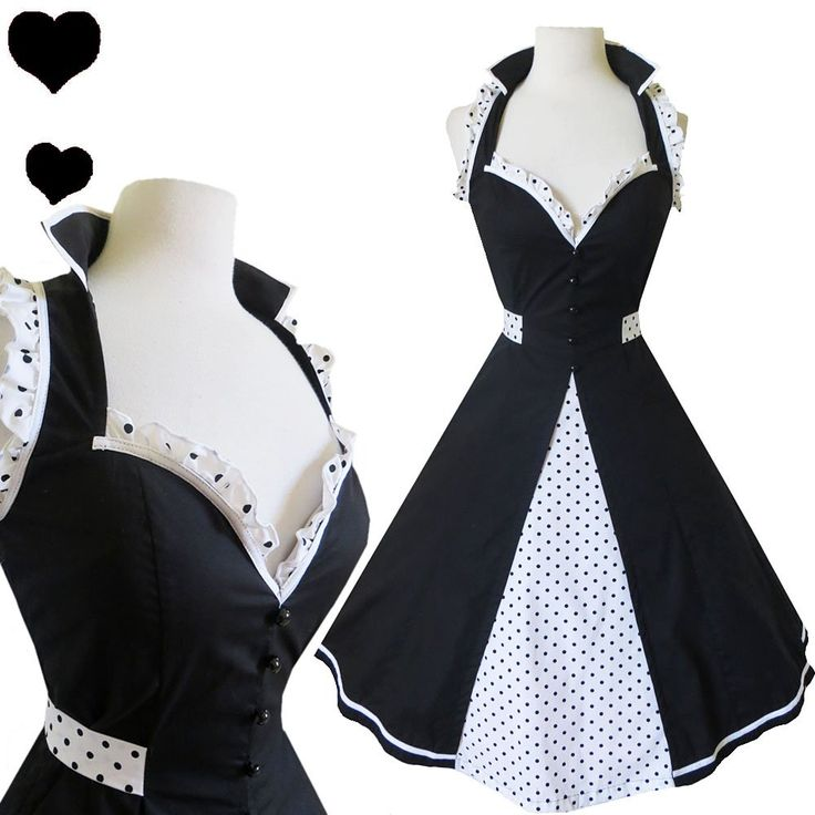 NEW 50s POLKA DOT Black Rockabilly Pinup FULL Skirt Prom PARTY Dress S M L White