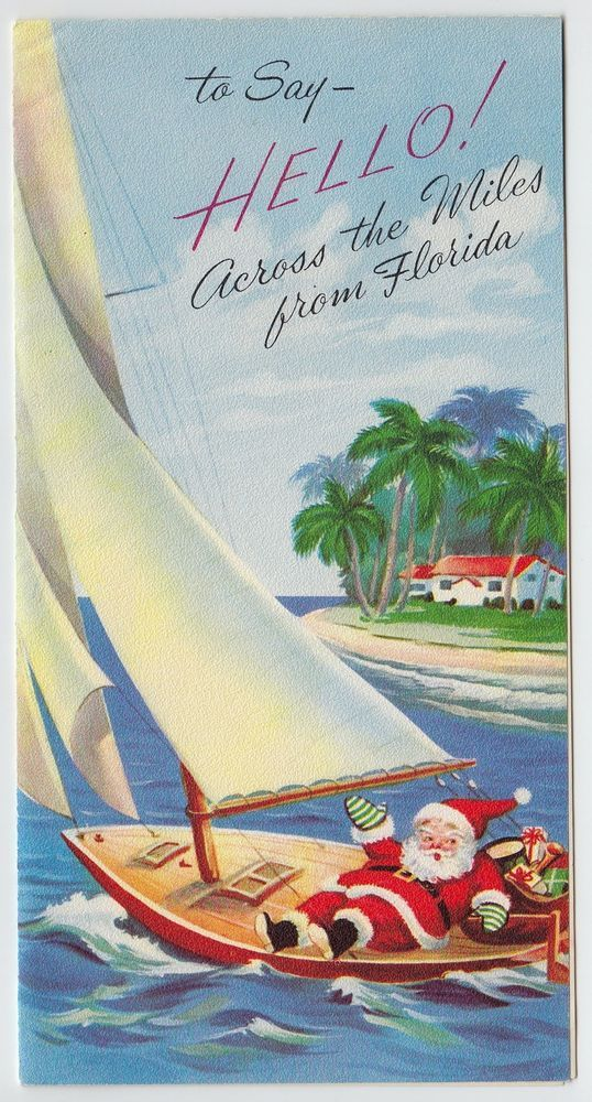 Vintage Greeting Card Christmas Santa Claus Florida Sailboat Boat ...