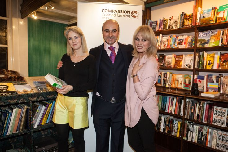 Authors, Isabel Oakeshott and Philip Lymbery with Joanna Lumley at the launch of Farmageddon on 4th February 2014.