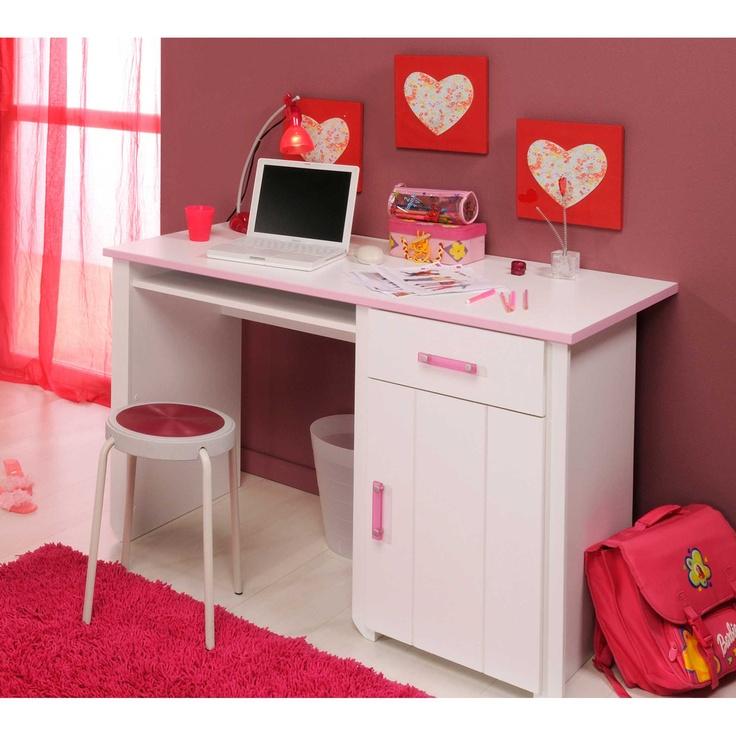 bureau 1 tiroir 1 porte blanc rose indien l121xp65xh77cm emma bureaux ps et roses. Black Bedroom Furniture Sets. Home Design Ideas