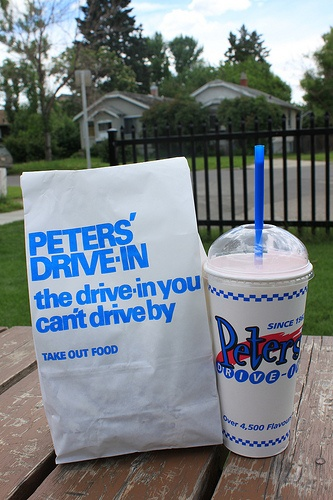 Peters Drive-In...yes, a small fries will feed a family of 4 easily!  Come see them in Calgary.  :-) Best Milkshakes EVER!