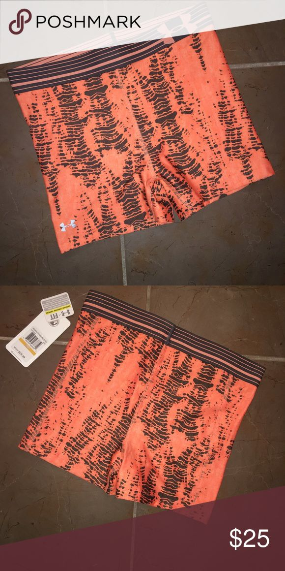 "UNDER ARMOUR Women's Compression Shorts Super-light UA HeatGear® fabric updated to deliver superior coverage & support. Signature Moisture Transport System wicks sweat to keep you dry & light. Lightweight, 4-way stretch construction improves mobility & maintains shape. Anti-microbial technology keeps your gear fresher, longer. Exposed elastic novelty waistband with a rise that sits just right on your hips 3"" inseam. Under Armour Shorts"