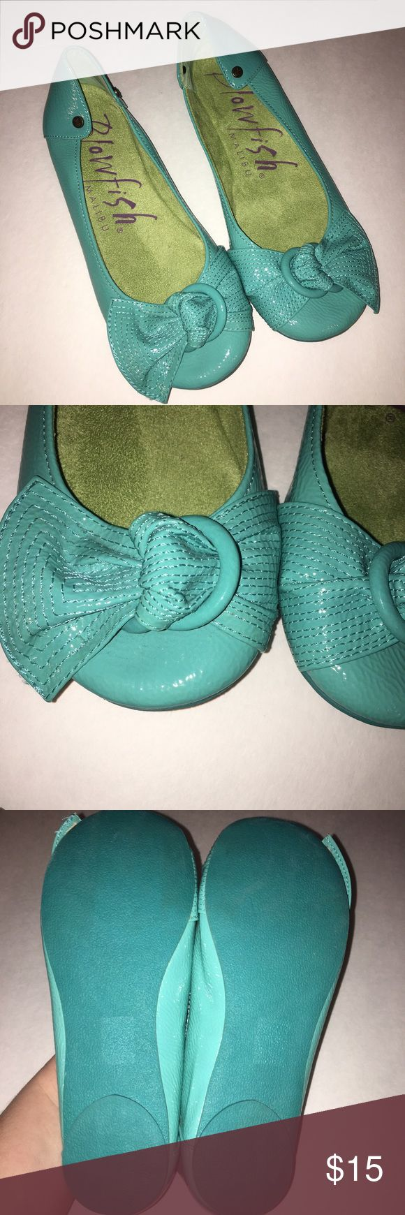 Teal flats Teal blowfish flats. Bow detail in front. Size 7.5 but fits more like a 7. Very comfortable. Worn once. Blowfish Shoes Flats & Loafers
