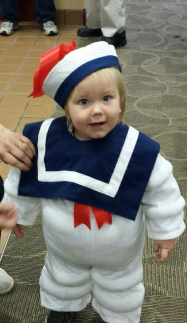 Homemade stay puft marshmallow man costume.