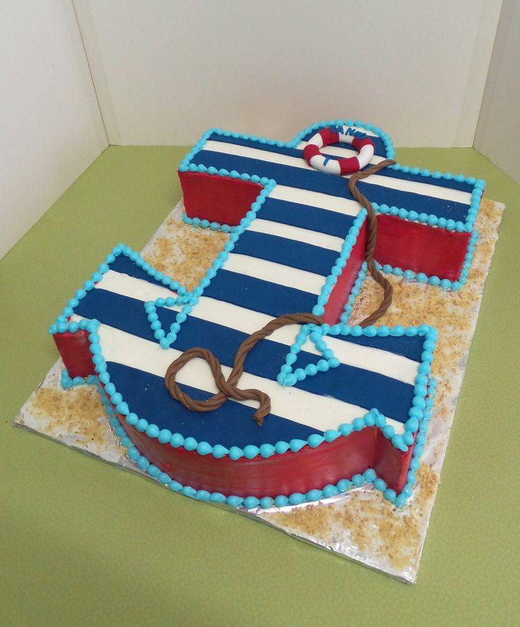 https://flic.kr/p/D2s7dC | Nautical anchor shaped birthday cake