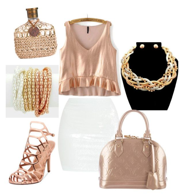 """""""'Golden Girl' ensemble featuring metal mesh bracelets & 'Queen' necklace set"""" by thejewelrylady on Polyvore featuring Madden Girl and Louis Vuitton"""
