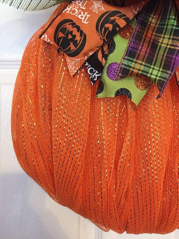 Guirnalda calabaza con arco de la cinta de malla de 16 x