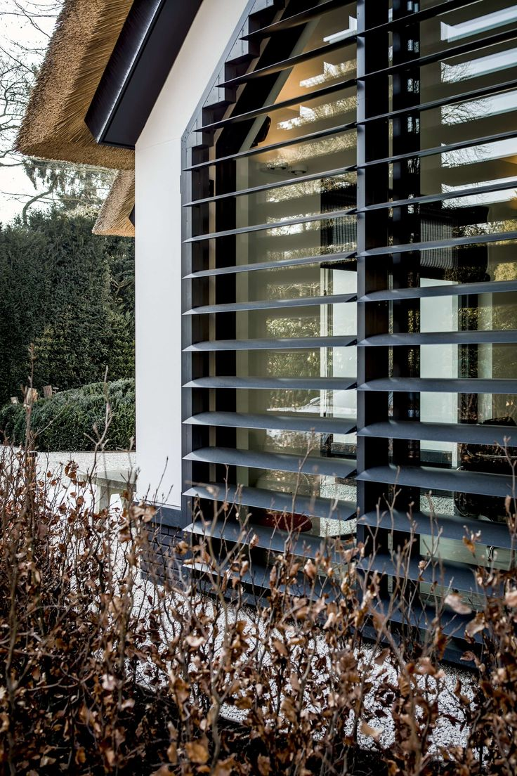 witte villa met rieten dak. Facade/louvre/shutters