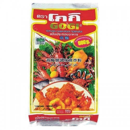 GOGI TEPUNG CAMPURAN TEMPURA 500 G. GOGI TEPUNG CAMPURAN TEMPURA 500 G. Wheat flour 88% , Tapioca starch 4% , Modified starch (tapioca starch) 3% ,Baking Powder 3% , Other (MSG.,salt) 2%