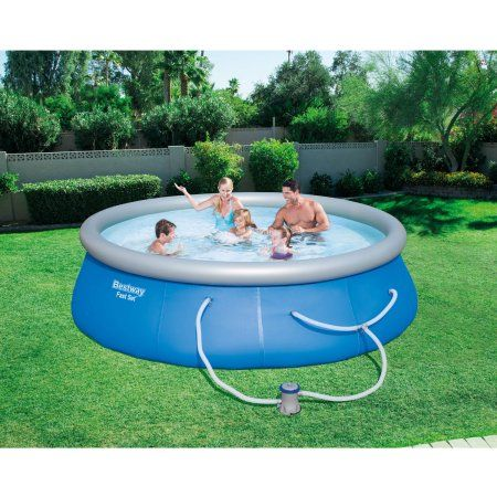 Fast Set 13' x 33 inch Swimming Pool Set with Filter Pump, Blue