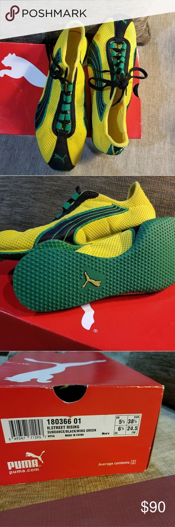 "Puma ""Jamaica"" flag colors, excellent condition PUMA H STREET RISING 180366 01 YELLOW GREEN shoes sneakers man  Color: yellow green Upper: mesh, fabric Outsole: rubber Puma Shoes Athletic Shoes"