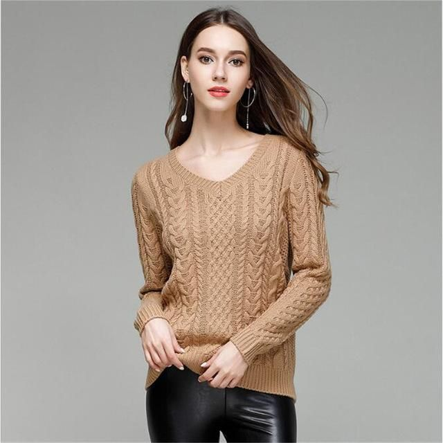 MOXFCIZO Women Sweaters And Pullovers Long sleeve Knitted White Thick Sweater Femme V Neck Sueter Mujer Gray Pull Femme Clothing