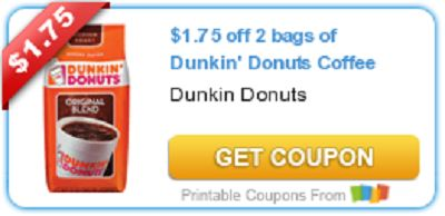 Dunkin Donuts Coffee Coupon!! $1.75 off 2 bags of Dunkin' Donuts Coffee http://kittykatkoutique.com/coupon-blog-kitty-kat-koutique/dunkin-donuts-coffee-coupon/