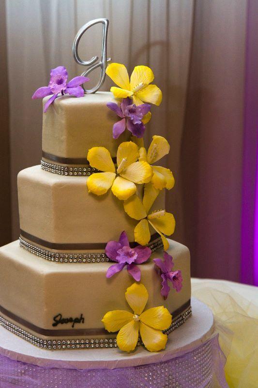 Top Tier Wedding Cakes Orlando Custom Hexagon Purple Yellow