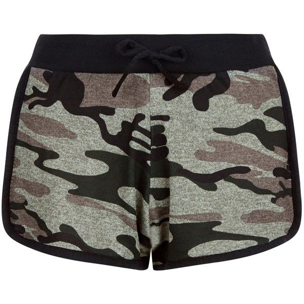 New Look Cameo Rose Green Camo Print Shorts ($22) ❤ liked on Polyvore featuring shorts, bottoms, green pattern, camouflage shorts, camo shorts, camoflauge shorts, print shorts and camoflage shorts