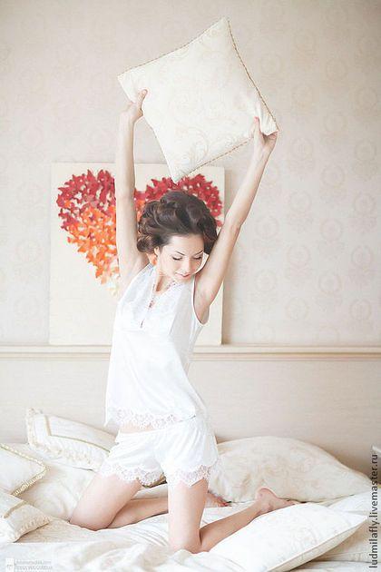 """""""Малышка"""" - пижамный комплект с шортиками - кремовый,однотонный,пижама"""