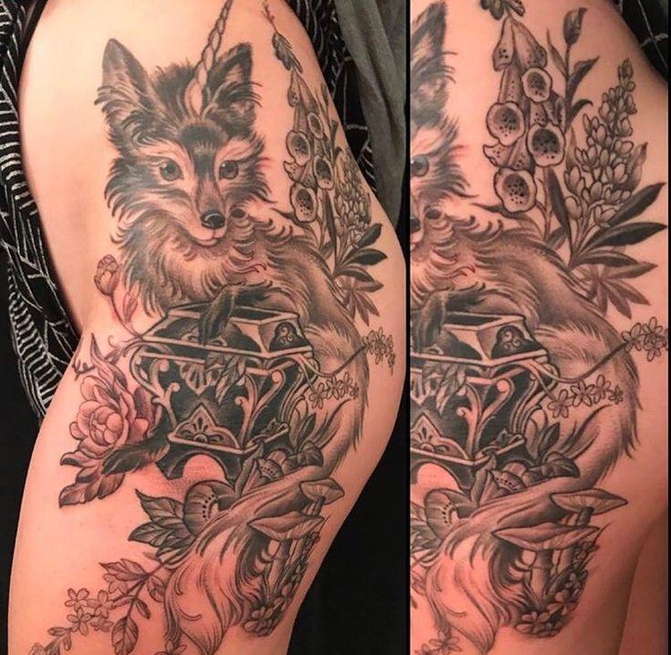 Fox/unicorn tattoo by Kim Saigh at Memoir Tattoo