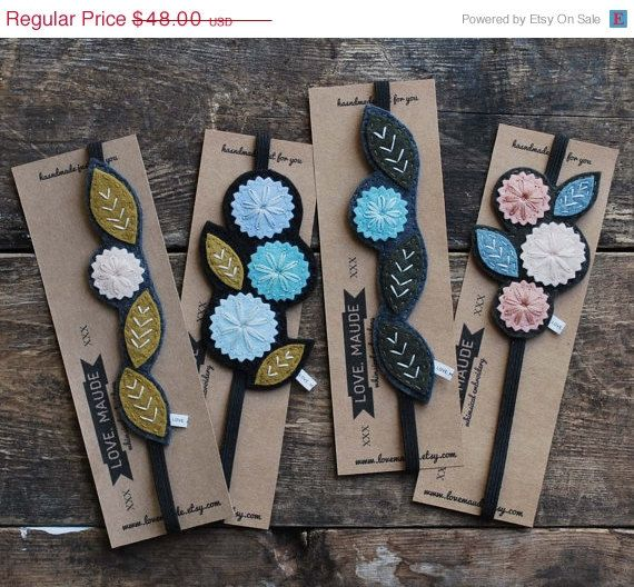 Holiday Sale Hand Embroidered Felt Bookmark Set - Unique Bookmark -  All Four Bookmarks
