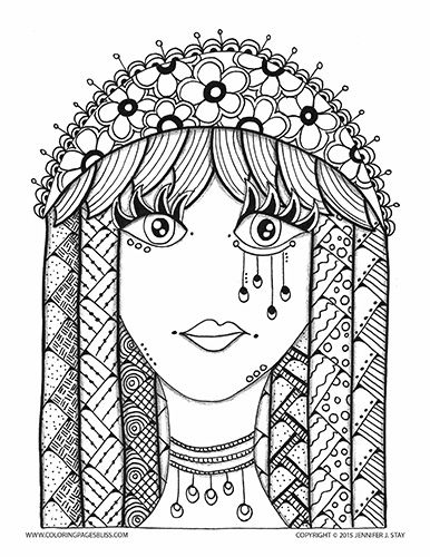 Coloring Page for adults and artists of all ages...she is one of the Babes from my Bliss Babes series. My niece calls this my hippie Bliss Babe. She loves coloring the hair. A printable coloring page hand drawn by Jennifer Stay, the artist behind over 100 coloring pages available at Coloring Pages Bliss