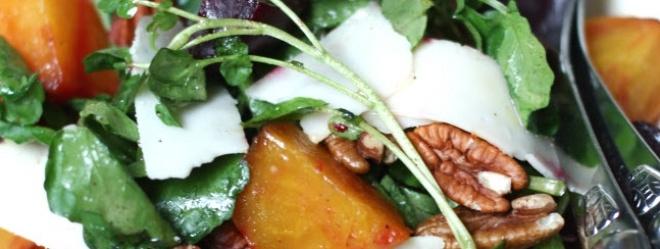 Zeste | Salade de betteraves rôties, de cresson et de pacanes