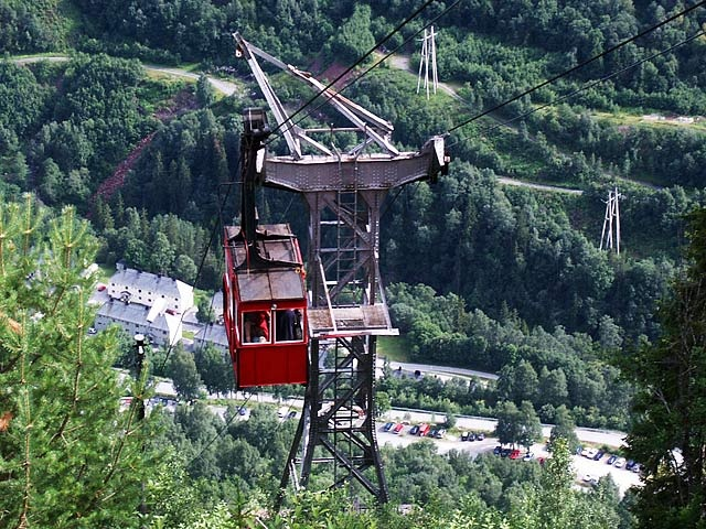Krossobanen, Rjukan Norway. A cable car to take the locals to the top of the mountain in the winter to get sun, as they almost never see the sun in the valley during that time.