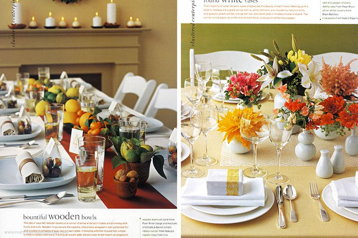 Clustered Centerpieces: Bountiful Wooden Bowls
