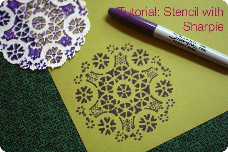 Sharpie with doilyChristmas Cards, Tutorials, Crafts Ideas, Paper Doilies, Doilies Pattern, Sharpie, Doilies Stencils, Paper Crafts, Diy Projects