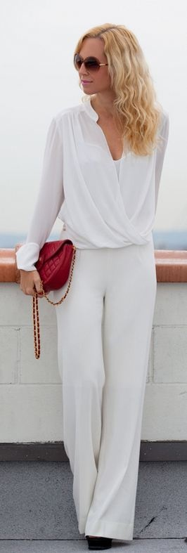 White with red bag