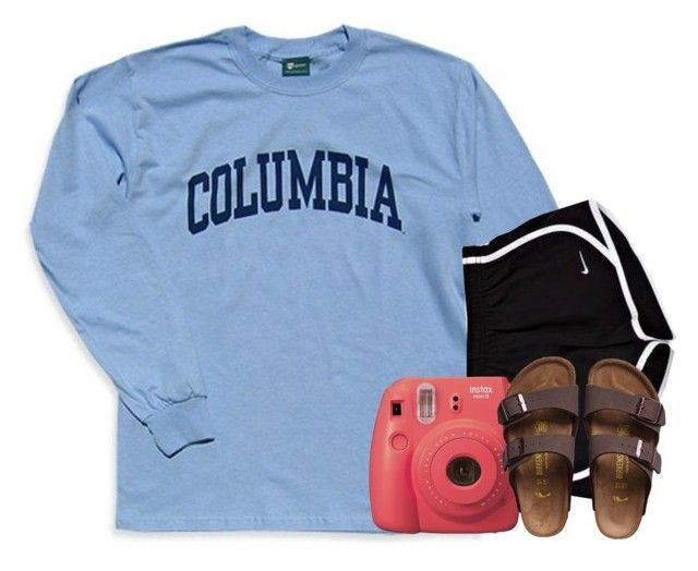 """happy b-day frand!"" by arielforlife ❤ liked on Polyvore featuring Columbia, Fujifilm and Birkenstock"
