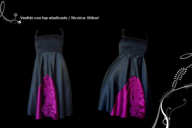 Vestido top elasticado y pieza central con textura shibori.