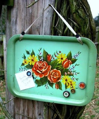 Vintage Metal Tray Memo Board