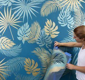 super Palm Fronds Stencil Kit - Tropical leaf stencil designs for trendy home decor