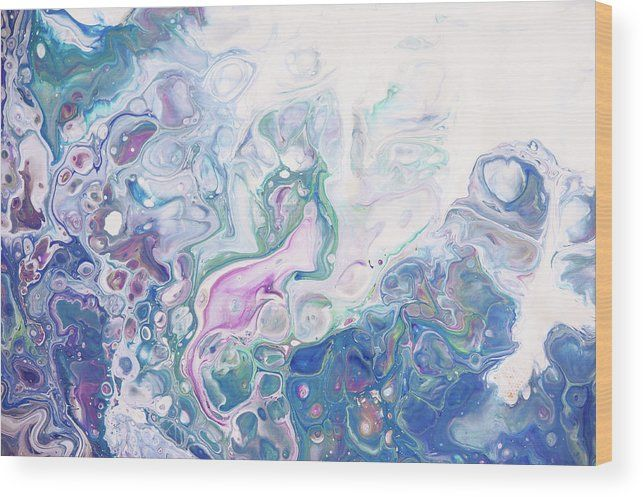 Underwater Worlds Fragment 6.  Abstract Fluid Acrylic Painting Wood Print by Jenny Rainbow.  All wood prints are professionally printed, packaged, and shipped within 3 - 4 business days and delivered ready-to-hang on your wall. Choose from multiple sizes and mounting options.
