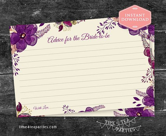 Advice for the Bride-to-be card Purple Plum by Time4TeaParties