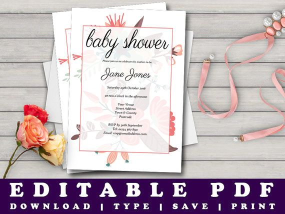 Printable Baby Shower Invitation Floral Print Baby by Prandski