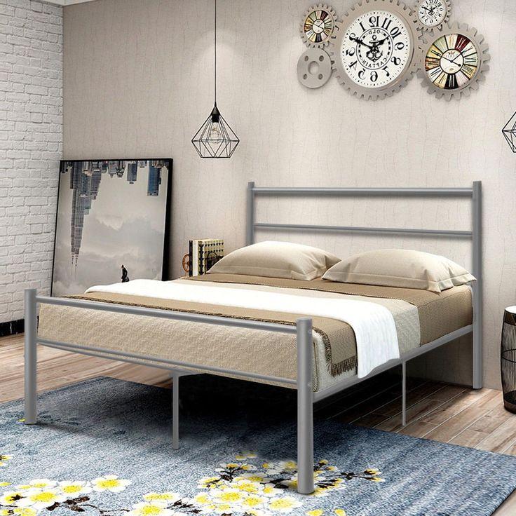 Metal Bed Frame Full Size Silver Platform Artistic